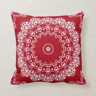 Christmas Red Lace Pattern by JoMazArt Throw Pillow