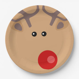 Christmas Red Nose Reindeer Paper Plates 9 Inch Paper Plate