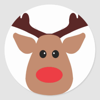 Christmas Red Nosed Reindeer Round Sticker