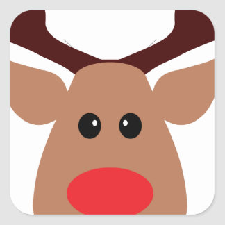 Christmas Red Nosed Reindeer Square Sticker