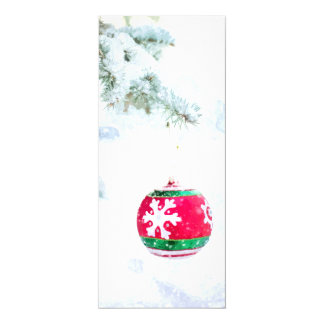 Christmas red ornament pine white snow card