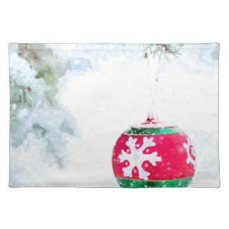 Christmas red ornament pine white snow classic placemat