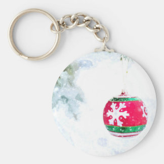 Christmas red ornament pine white snow key ring