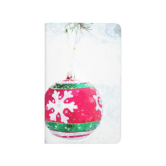 Christmas red ornament white snow classic journal