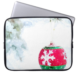Christmas red ornament white snow classic laptop sleeve