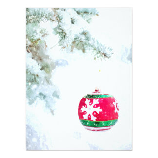 Christmas red ornament white snow watercolor card