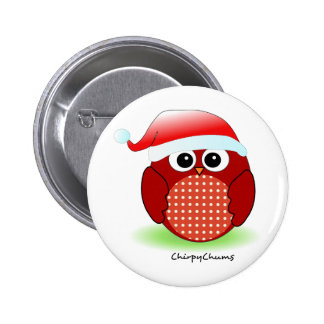 Christmas Red Owl 6 Cm Round Badge