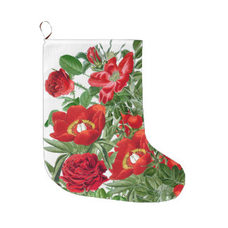 Christmas Red Peony Flowers Floral Stocking