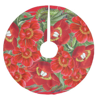 Christmas Red Peony Flowers Floral Tree Skirt