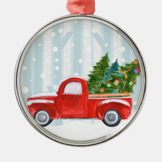 Christmas Red PickUp Truck on a Snowy Road Christmas Ornament