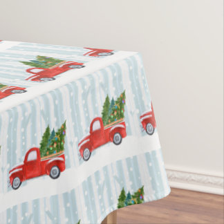 Christmas Red PickUp Truck on a Snowy Road Tablecloth