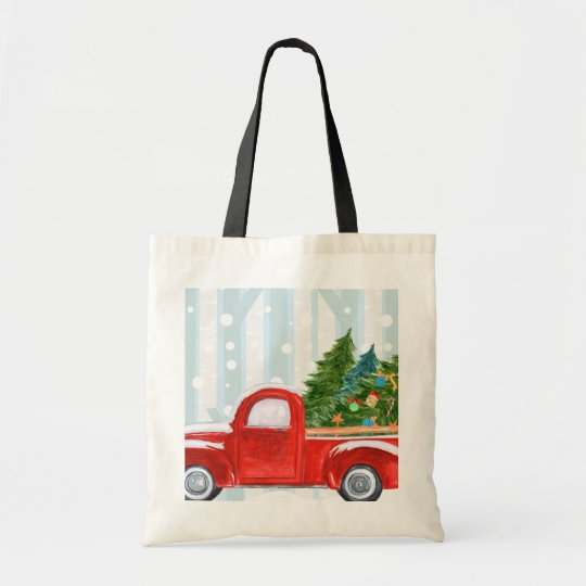 Christmas Red PickUp Truck on a Snowy Road