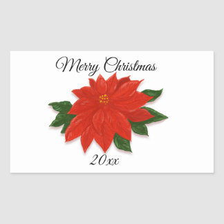 Christmas Red Poinsettia Flower Rectangular Sticker