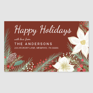 Christmas Red Poinsettia Foliage Return Address Rectangular Sticker
