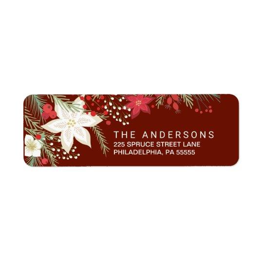Christmas Red Poinsettia & Pine Return Address