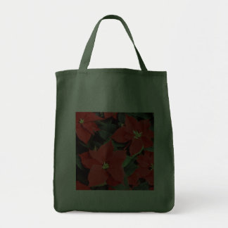Christmas Red Poinsettia Plants Canvas Bag