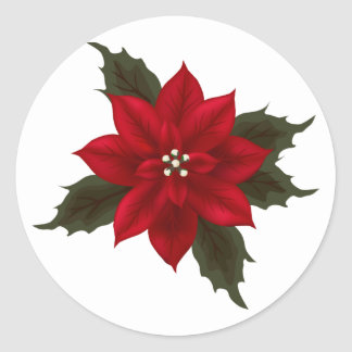 Christmas Red Poinsettia Sticker