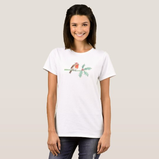 Christmas Red Robin on Holly T-Shirt