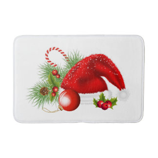 Christmas Red Santa Hat Bath Mat