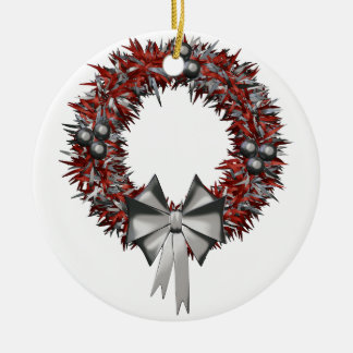 Christmas Red & Silver Wreath Ceramic Ornament
