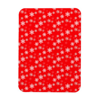 Christmas Red Snow Flurries Rectangle Magnet