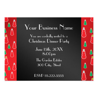 Christmas red snowman Business invitation