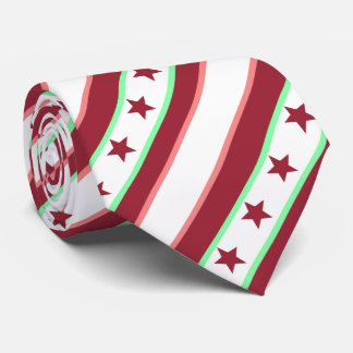 Christmas Red Stripes and Stars Pattern Tie