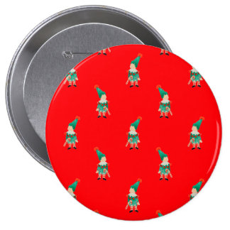 Christmas Red Toddler Children Elves Pattern 10 Cm Round Badge