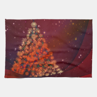 Christmas red tree holidays tea towel