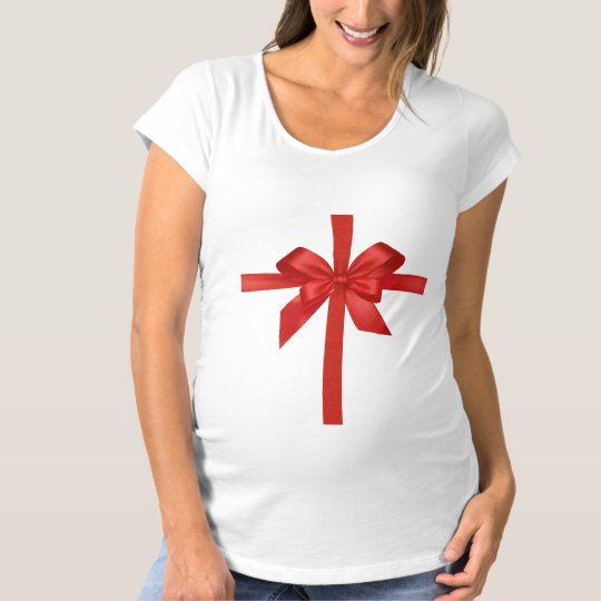 Christmas Red Tummy Bow Maternity Shirt