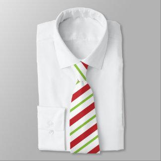 Christmas Red, White and Green diagonally Stripes Tie