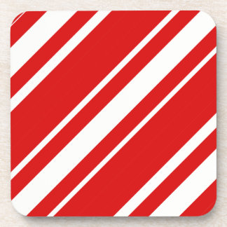 Christmas Red White Candy Cane Stripes Coaster