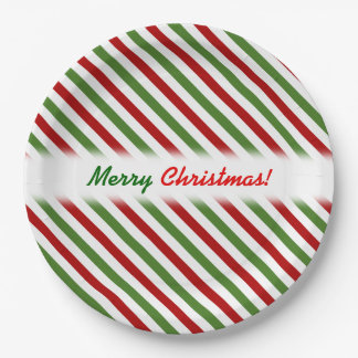 Christmas; Red, White & Green Striped Pattern Paper Plate