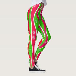 CHRISTMAS RED, WHITE & GREEN STRIPES LEGGINGS