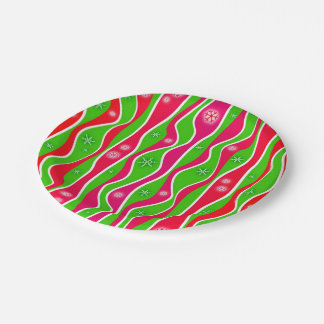 CHRISTMAS RED, WHITE & GREEN STRIPES PAPER PLATE