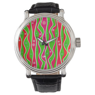 CHRISTMAS RED, WHITE & GREEN STRIPES WATCH