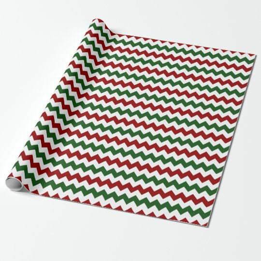 Christmas Red White Green Zigzag Chevron Stripes Wrapping