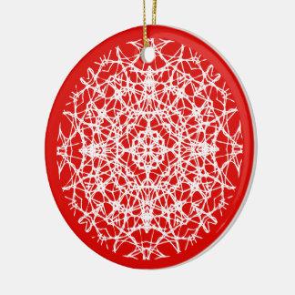 Christmas Red | White Pretty Snowflake Photo Christmas Ornament