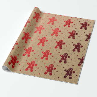 Christmas Red Wine Gingerbread Man Kraft Wrapping Paper