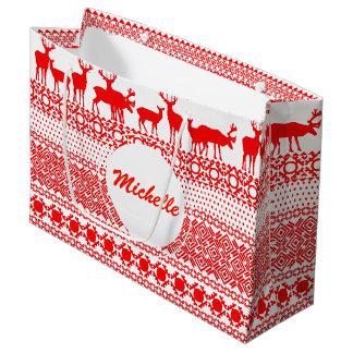 CHRISTMAS REIN DEER LAPLAND red PATTERN Gift Bag