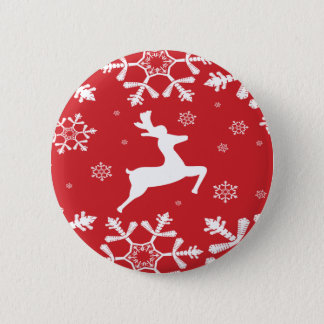Christmas Reindeer 6 Cm Round Badge