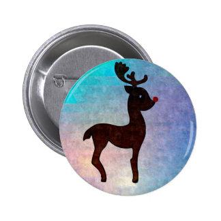 Christmas Reindeer 6 Cm Round Badge