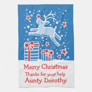 Christmas reindeer add a message kitchen towel