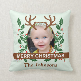 Christmas Reindeer Antlers Personalize Photo Cushion
