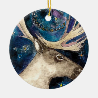 Christmas Reindeer at Night with a Shining Star Christmas Ornament