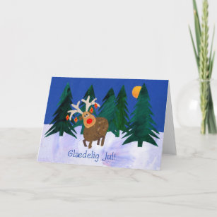 Danish christmas cards invitations zazzle christmas reindeer card with danish greeting m4hsunfo
