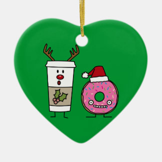 Christmas Reindeer Coffee and Santa Donut Ceramic Heart Decoration