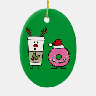 Christmas Reindeer Coffee and Santa Donut Christmas Ornaments