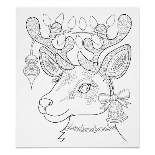 Christmas Reindeer Colouring Poster , Colorable