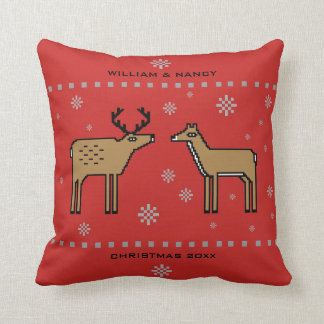 Christmas Reindeer Couple Monogram Cushion